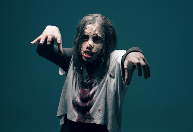 Dead woman zombie. horror halloween concept