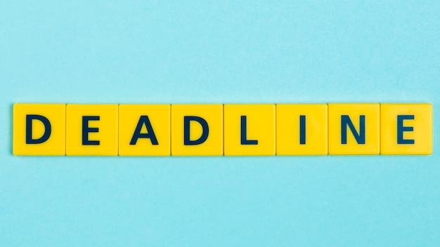 Deadline word on scrabble tiles