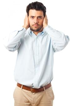 白い背景の上の聴覚障害者のジェスチャー