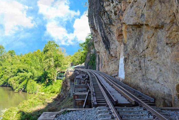 Death railway bridge over the kwai noi river at krasae cave
