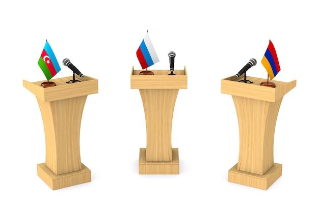 Дебаты между азербайджаном и арменией и республикой россия на белом. изолированные 3d иллюстрации