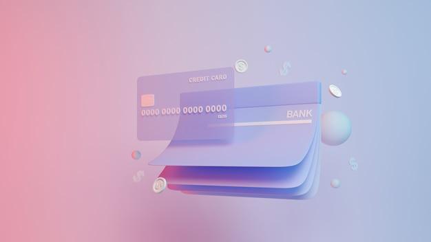 Дебетовые или кредитные монеты и денежные монеты по сберегательной карточке