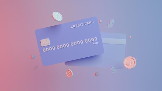 직불 또는 신용 카드 머니 동전