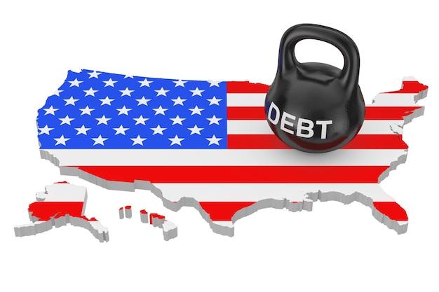 債務の概念。白い背景の上の旗と米国の地図上の債務サインと黒鉄ケトルベル。 3dレンダリング