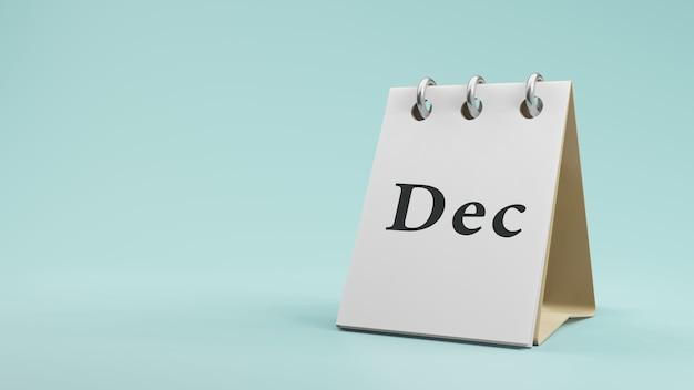 紙の卓上カレンダーの3dレンダリングのdec