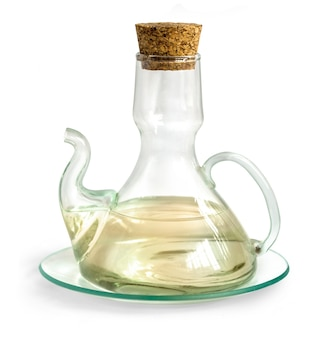 Decanter with vinegar isolated on the white