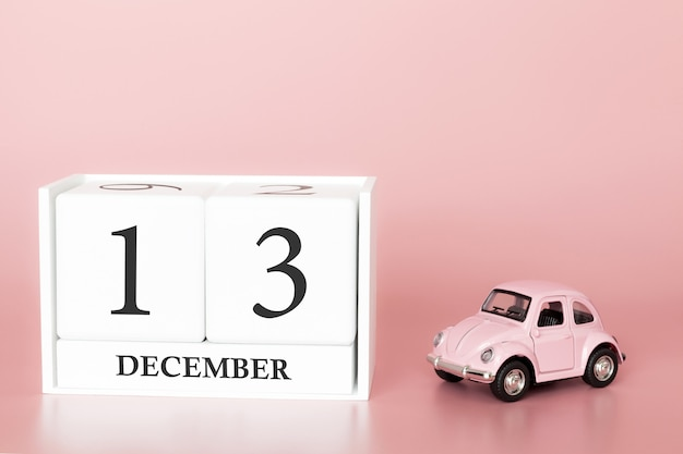 December 13th. day 13 of month. calendar cube with car
