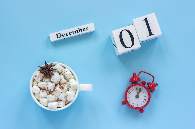 December 1st cup of cocoa with marshmallows and alarm clock