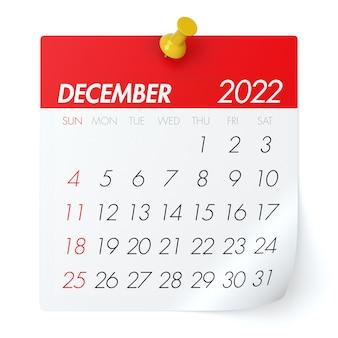 2022년 12월 - 달력. 흰색 배경에 고립. 3d 일러스트레이션