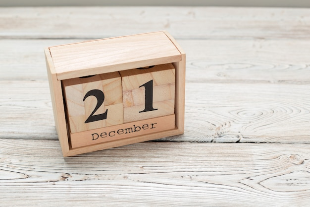 December 21, day 21 of december month, wood calendar
