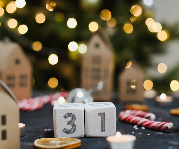 December 31 on calendar new year and christmas concept