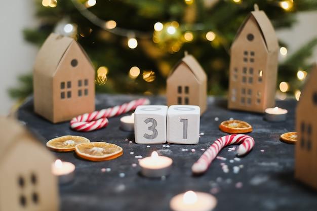 31 декабря в календаре новый год и рождество концепции