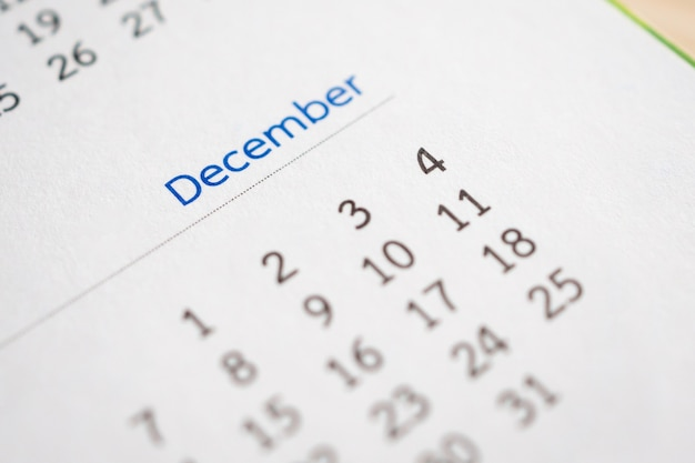 December calendar page with months and dates business planning