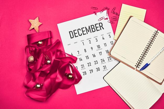 December calendar with several notepads
