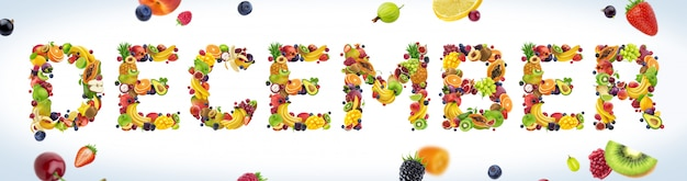 December word made of tropical and exotic fruits