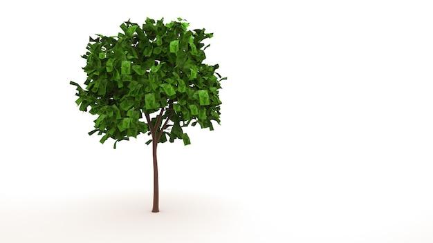 낙엽 녹색 나무, 흰색 배경에 고립 된 요소. 잎, 그래픽 디자인, 3d 일러스트와 나무.