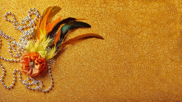 Decirative brooch with feathers for mardi gras or carnivale mask and beads. venetian carnivale celebration concept.