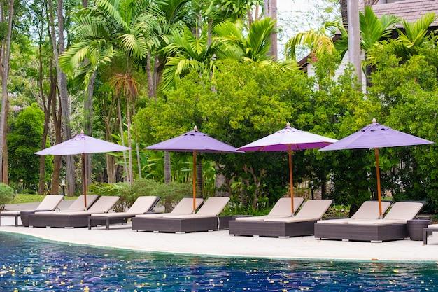 Deck chair or sunbath near private swimming pool