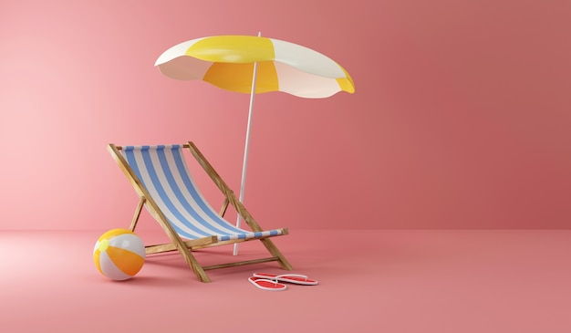 Deck chair with sunshade and color beach ball on pink studio background