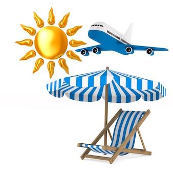 Шезлонг, зонтик и солнце. изолированный, 3d-рендеринг