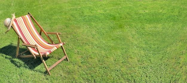 Deckchair in the grass of a garden