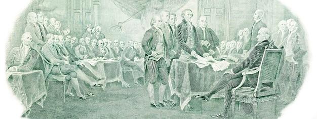 미국 2달러 지폐로부터의 독립 선언. 고해상도 사진입니다.