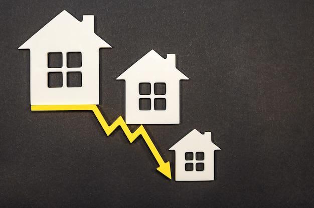 Снижение цен на недвижимость. убыль населения. падение процентов по ипотеке. снижение спроса на покупку жилья, низкие цены на коммунальные услуги. стрелка вниз.