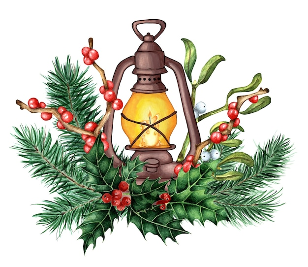 モミの枝のヒイラギのモチノキとヤドリギのキャンドルでクリスマスと新年のランタンの装飾