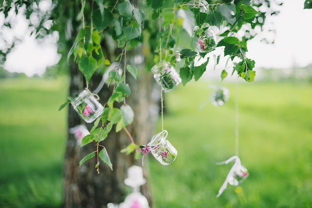 Decor jars with flowers hanging on tree with green foliage