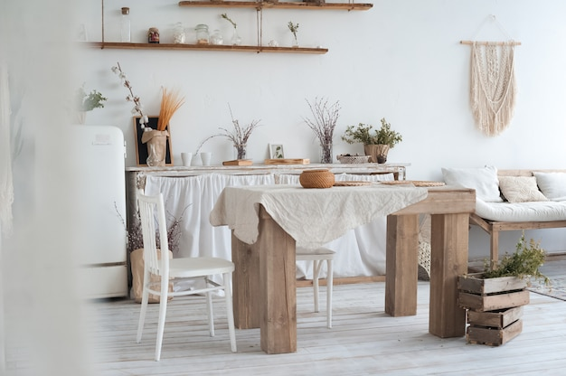 The decor of the kitchen in the scandinavian style. rustic kitchen interior in bright colors and copy space.
