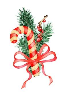 キャラメルヒイラギのモチノキと赤いリボンの水彩画のクリスマスと新年の装飾トウヒの枝