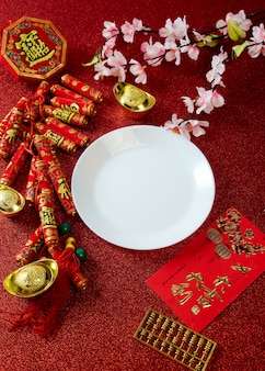 Decorate chinese new year festival on red