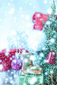 Decorate christmas with snow for background