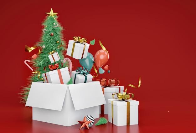 クリスマスイブのギフトボックスでクリスマスツリーを飾る