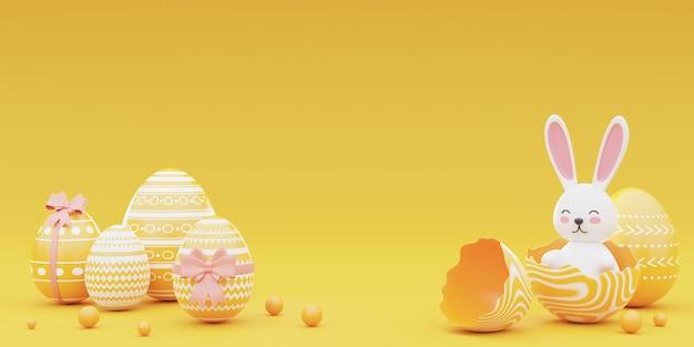 토끼와 부활절 달걀 노란색 배경에 장식. 부활절 holiday.3d 렌더링의 개념입니다.