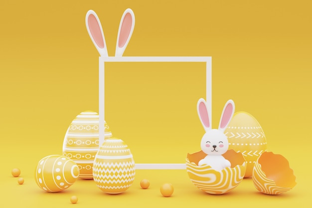 노란색 배경에 프레임 토끼와 부활절 달걀을 장식. 부활절 holiday.3d 렌더링의 개념입니다.