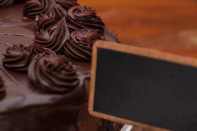 Decorated chocolate cake close-up