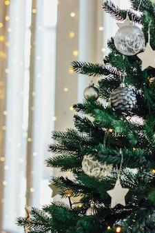 Decorated christmas tree background, minimalism scandinavian int