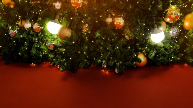 Decorated christmas tree on blurred, sparkling and fairy