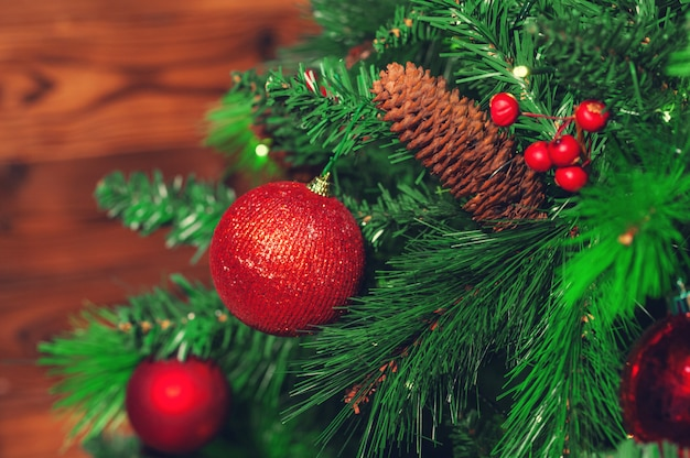 Decorated christmas tree closeup.