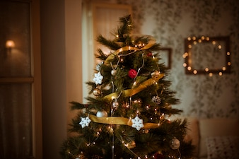 Decorated Christmas tree in living room