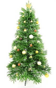 흰색 절연 장식 된 크리스마스 트리