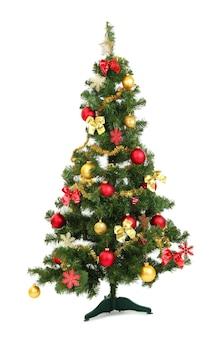 白で隔離の装飾されたクリスマスツリー