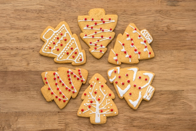 Decorated christmas tree shape gingerbread cookies