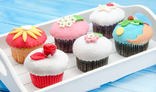 Decorated cupcakes with fondant