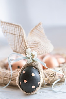 Decorated easter eggs in black