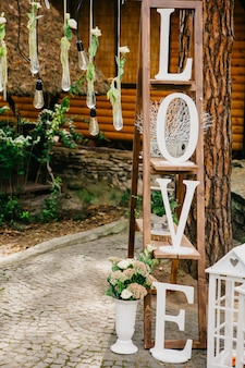 Decorated forest for the wedding ceremony.