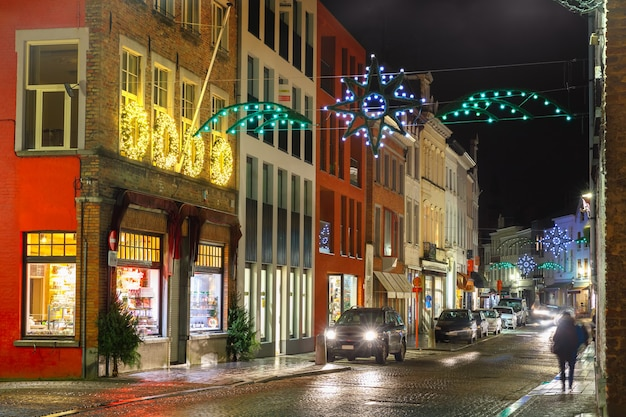 Decorated and illuminated christmas street in bruges, belgium
