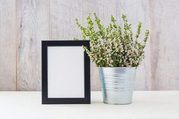 Decorated plants in silver pot and blank picture frame on table
