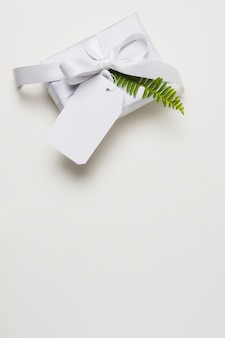 Decorated present over white backdrop with empty space
